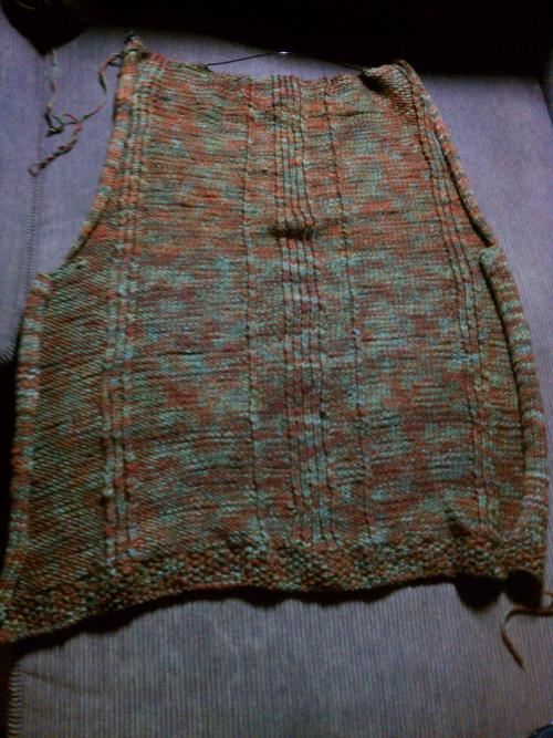 Back side's done. (Almost) halfway through this vest.  My first big-ish project.