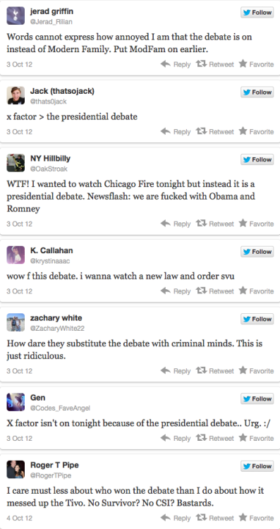 TV Watchers Were Not Happy About the Presidential Debate [Click to continue reading] Who cares about the future of this country? I WANT ME SOME SHOWS.