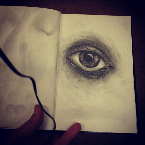 Train station #art #pencil #bored #eye (Taken with Instagram)