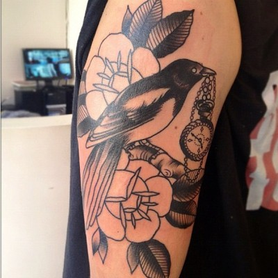 Colour still to come! Taken and done by @cassandra_frances :) #magpie #flowers #pocketwatch #tattoo instagood #instagreat #jj_forums #instagramdaily #instafamous #igers #ipopyou  #iphonesia #webstagram #bestoftheday  #ahahahaCheah #igdaily #tweegram  #instamood #photooftheday #ignation #igaddict #primeshots #instadaily #instagram_underdogs  (Taken with Instagram at End Times Tattoo Studio)