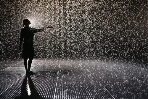 mothernaturenetwork:  Photo of the day: 'Rain Room' keeps visitors dry amid indoor downpourA woman extends her arm out on Oct. 3 while walking through the Rain Room, an interactive art installation at The Curve inside London's Barbican Centre. Despite the torrential downpour in this 100-square-meter room, visitors remain dry thanks to 3D sensory cameras that detect the position of each individual and stops the rain overhead.
