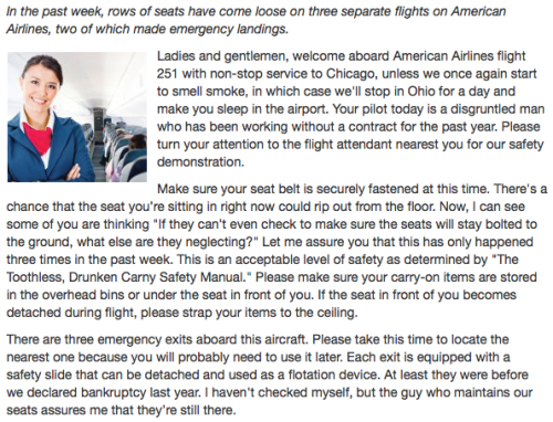 American Airlines' New Safety Speech [Click to continue reading]