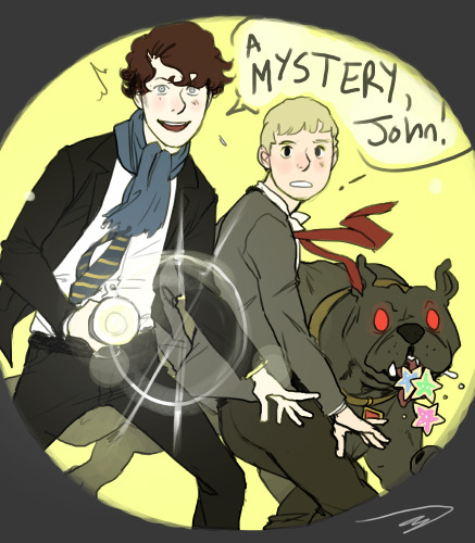 yourdearestwatson:  reapersun:  speaking of teenlock john and sherlock go to different boarding schools but sneak away to solve mysteries together the mysteries usually involve missing bicycles or monster sightings that turn out to be old man jenkins baskerville is their magic ghost dog who helps them find clues because they feed him sugar cookies that john's mom sends him in care packages rated g  God I love this woman.