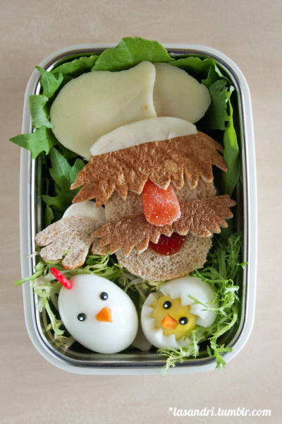 Save the Muppets Bento :)  Chef (face and hand) is PB& Jam (was supposed to be turkey sandwich but there is no turkey to be found in my fridge), with a mozzarella cheese hat, and a spice drop nose. The contrasting mustache and eyebrows are bread crust and his sleeve is a marshmallow. The chicks are hard-boiled eggs with carrot beaks and black sprinkles for eyes. Yes, I realize that the Swedish Chef is not a Sesame Street character, and to my knowledge, has not appeared on PBS. But all the Muppets support each other and so here's my tribute! Also, I had a chicken/chick theme planned for today so I wanted to adjust my theme to my political (?) message.