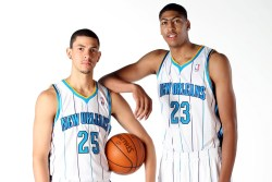 nba:  Austin Rivers & Anthony Davis of the New Orleans Hornets pose during 2012 NBA Media Day on October 1, 2012 at the Alerio Center in Westwego, Louisiana. (Photo by Layne Murdoch Jr./NBAE via Getty Images)