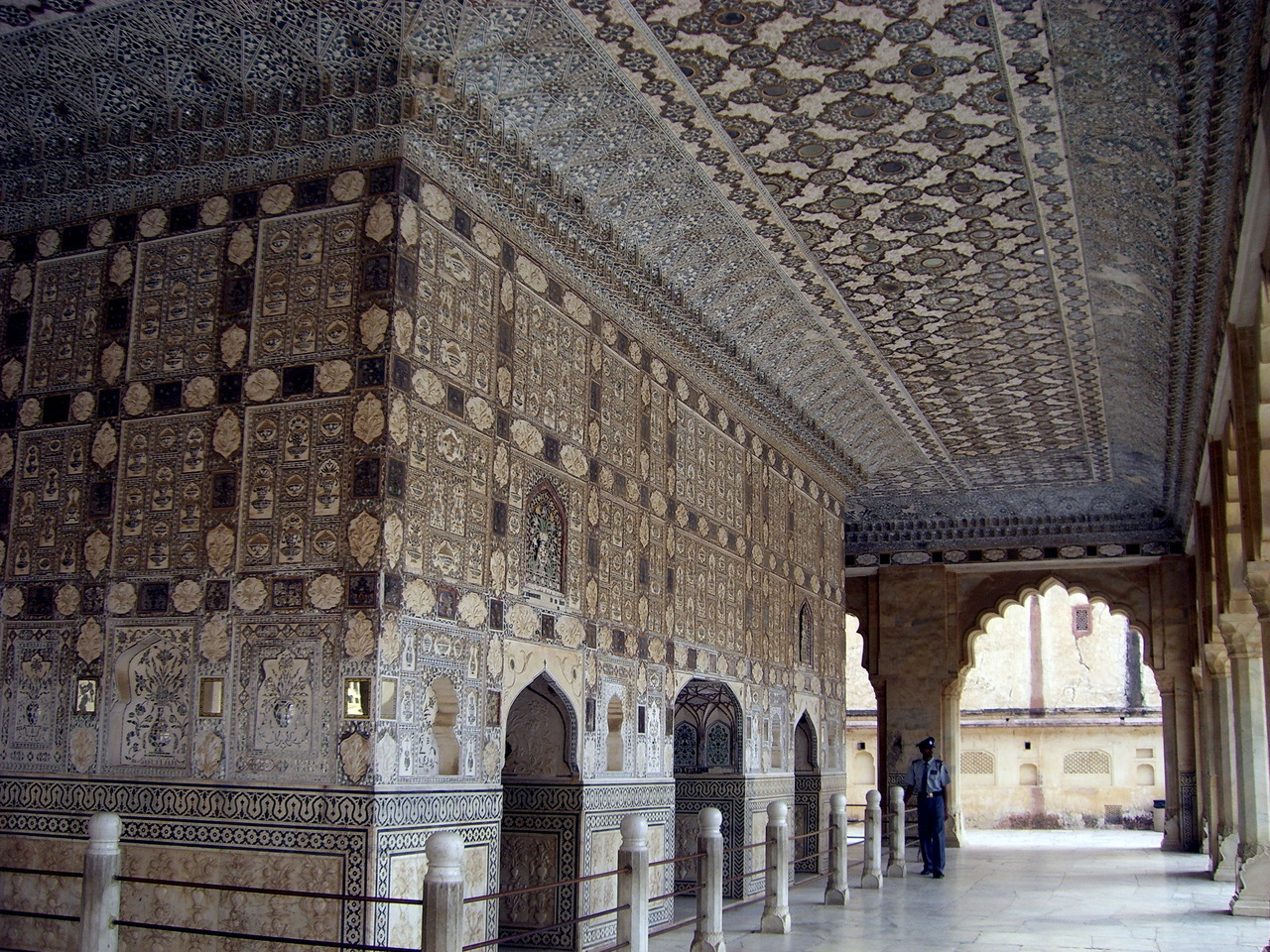 The mirror palace inside Amer Fort, India.