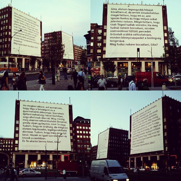 the biggest love letter and proposal I've ever seen… #love #proposal #instamood (Taken with Instagram at Madách Imre tér)