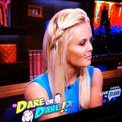 Loving Jenny McCarthy's braid! (Even her sharpie mustache). #braid #hair #jennymccarthy #mcarthy #mustache #wwhl @bravoandy #whatwhathappenslive @bravo #bravo #bravoandy #love #hair #actress #celeb #celebrity #fashion #style #trend #fun #tvshow #tv #truthordare #girl #girls  (Taken with Instagram)