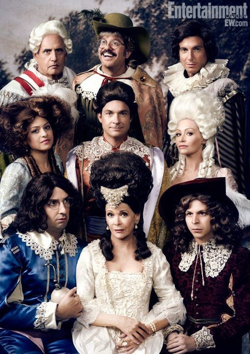 "Arrested Development Picture of the Day: The Bluths Are Back. From Entertainment Weekly:   With the series returning for at least 10 new episodes that will debut on Netflix run this spring, the cast (who slipped into Renaissance-era costumes for their EW photo shoot) reveal what it was like to work together again. ""We all walked onto the set and we just sat around and stared at each other, and it was surreal,"" says Portia de Rossi. ""Everybody looked exactly the same and they acted exactly the same, both in character and in between takes. Body ­language was the same, the same old jokes, the same old eye rolls. It was really amazing.""  Stoked! via"