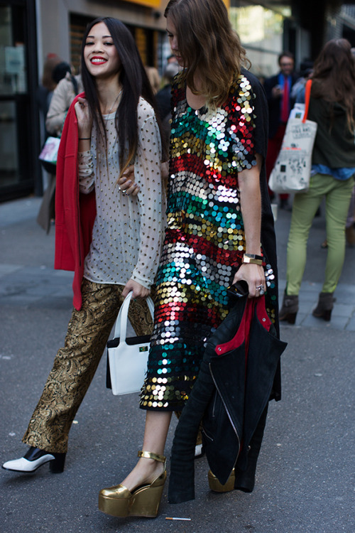 A sure way to make your day shine? Rainbow sequins! via The Sartorialist.