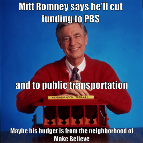 Talking budget cuts impact on the neighborhood with Mister Rogers and Trolley…Remix this image on http://canv.as/s/17xyl.