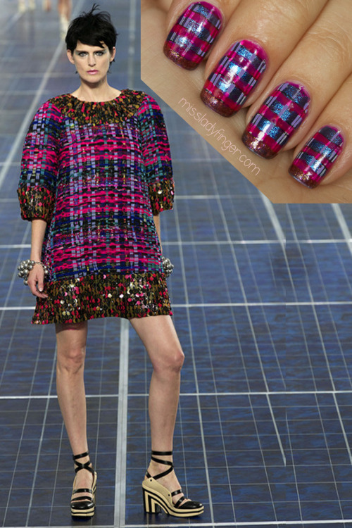 MANICURE MUSE: Chanel Spring '13 Remember in the 90s when tube tops were all the rage? Remember when your mom wouldn't let you have one, so you kicked up your skirt over your prepubescent bust to mimic one? Now you have Karl's permission. And if you feel like just wearing a sweater as a dress, that's ok too (like this multi-colored ribbon knit that inspired this Ladyfinger). Also of note for Chanel's Spring '13 collection were the statement-making accessories featuring plastic wide-brimmed hats, oversized layered pearls, and a hula-hooop iconic quilted bag. Click here for nail colors and step-by-step instructions!