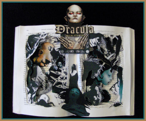 DRACULA - For all my blood-thirsty followers here is another book sculpture of Dracula. I had so many special requests lately that it has been hard to stock my shop.  Finally, I was able to complete one for the shop. Hopefully I will be able to complete three more book sculptures by next Wednesday. Doing this one, has put me in the mood for full-moon, foggy nights with bat filled skies. Halloween is right around the corner. After that, things get a little hectic. I think I will make the time to enjoy the beautiful fall weather. Maybe I'll set up a cutting table outside and try sculpting in the woods.  SOLD