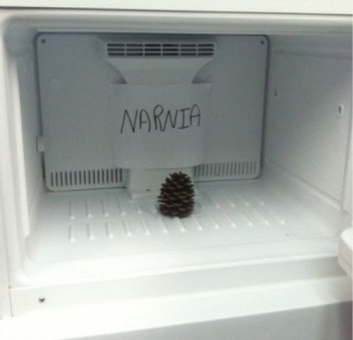 collegehumor:  We Found Narnia Poor Aslan fell in the ice tray and never made it out.