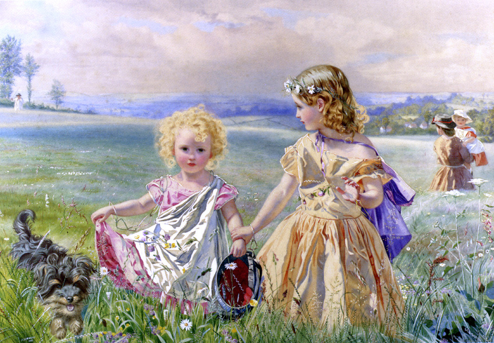 J. Deane Simmons : Children Garlanded With Flowers in a Meadow 1866