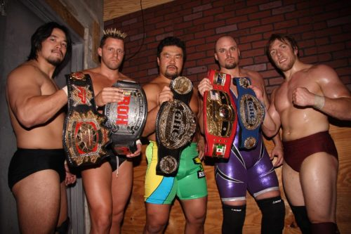 wrestlingdelorean:  Go Shiozaki, Nigel McGuinness, Kensuke Sasaki, Adam Pearce and Daniel Bryan: September 20, 2008 This would make a pretty impressive stable.