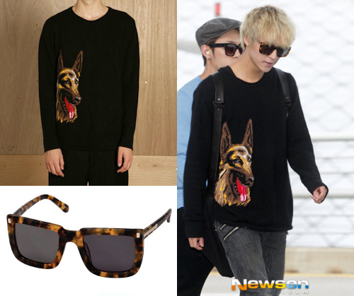 121003 BEAST @ INCHEON AIRPORT | DONGWOONBALENCIAGA GERMAN SHEPHERD SWEATER - UNAVAILABLEKAREN WALKER WIZARD TORTOISE SUNGLASSES - $250