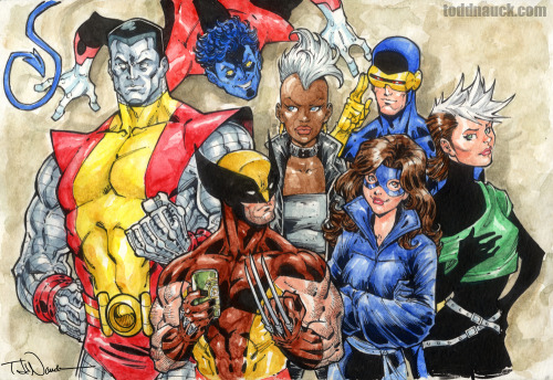 X-Men 1984.Watercolor and Pigma Micron markers.