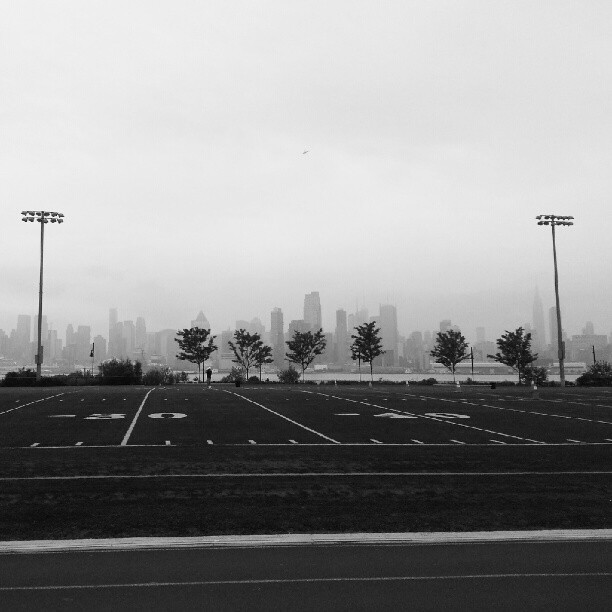 Football field with a million dollar backdrop. Taken on my way to work. (Taken with Instagram)