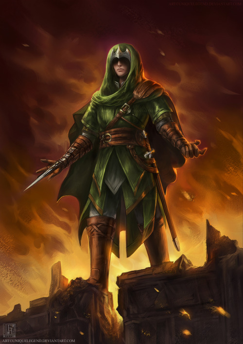 uniquelegend:  My new design of Link as an assassin, done on Painter XI with a Wacom tablet. I love the idea of mashing up Zelda and Assassin's Creed. The older version of this can be found here.—> [link]  This is awesome!!!