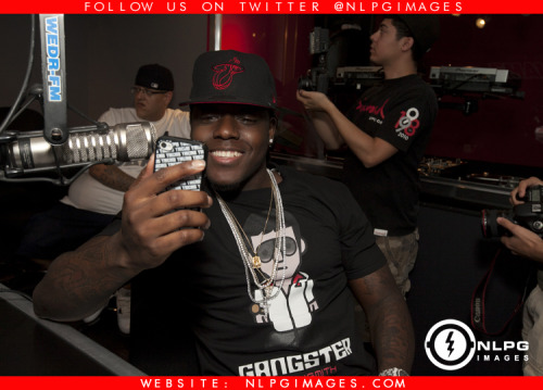 "Ace Hood pictured at WEDR 99 Jamz Studio with DJ Khaled and and Felisha Monet. Click on the image to view more photos. NLPGimages ""We're Everywhere You're Not"""