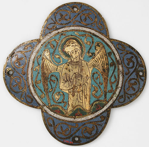 Quatrefoil Plaque with Angels, second quarter of 13th centuryFrench (Limoges)Champlevé enamel, copper  @credits  The medieval metalworker's craft was often closely allied to the draftsman's art, a relationship that was particularly strong in the twelfth and thirteenth centuries. In this work, calligraphic metal surfaces float against colorful enameled backgrounds, much as drawing and painting interact in manuscripts. A sketch of a head on the reverse of this piece suggests that artists worked out compositions in a graphic mode before attempting completed designs.
