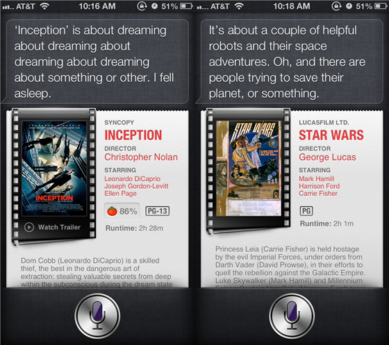 Apple Easter egg reveals what Siri really thinks about certain movies (Photo: Apple) I love virtual Easter eggs. They're little hidden messages or jokes which are lurking inside your favorite apps, websites, games, movies, and so on. Apple even slipped some into iOS 6, the latest version of its mobile operating system, by teaching Siri to say exactly what she thinks about some movies. Read the complete story.