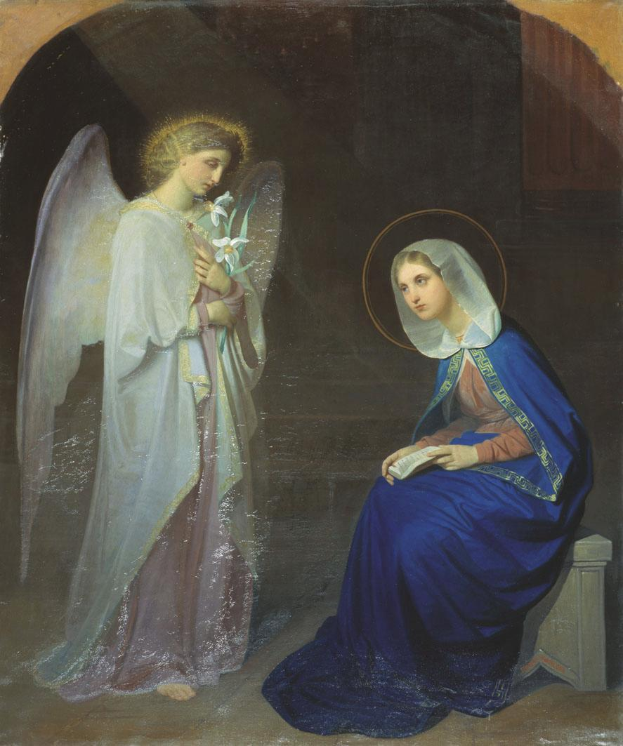 "The Annunciation (1852). Yakov Fedorovich Kapkov (Russian, 1816-1854). ""The Holy Ghost shall come upon thee and the power of the Most High shall overshadow thee. And therefore also the Holy which shall be born of thee shall be called the Son of God."""