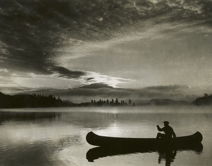 oldfishingphotos:  Big Moose Lake, Adirondacks, New York Photo: Ewing Galloway / Source: New York Public Library Digital Gallery