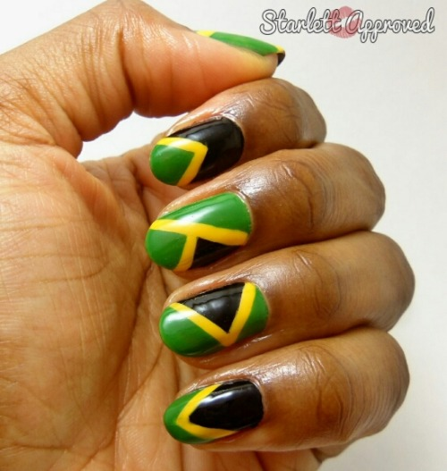 31 Day Challenge 2.0 Day 28: Inspired by a Flag- J.A.M(jamaica)A.I.C.A(jamaica) Polishes Used: Sinful Colors Pull Over Sinful Colors Exotic Green Wet n Wild Black Creme