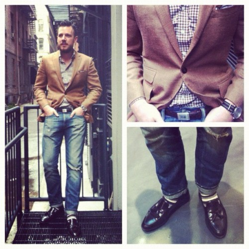 sbdaily:  Today's fit. Hopsack, gingham, beat up denim. #TSBmen (Taken with Instagram)