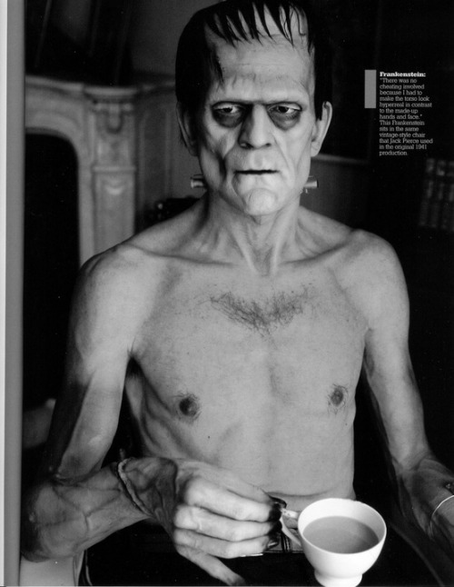 camdamage:  boris karloff enjoying tea. with no shirt on of course