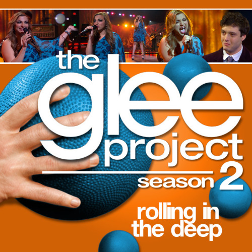 "A Glee Project album cover (with Season 3 dodgeballs) for ""Rolling in the Deep"" by Adele, as sung by Aylin Bayramoglu, from Episode 2x11 ""Glee-ality"", in the style of the venerable Maxdume."
