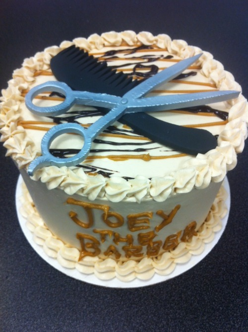Barber-themed peanut butter chip cake / scissors and comb are both edible.