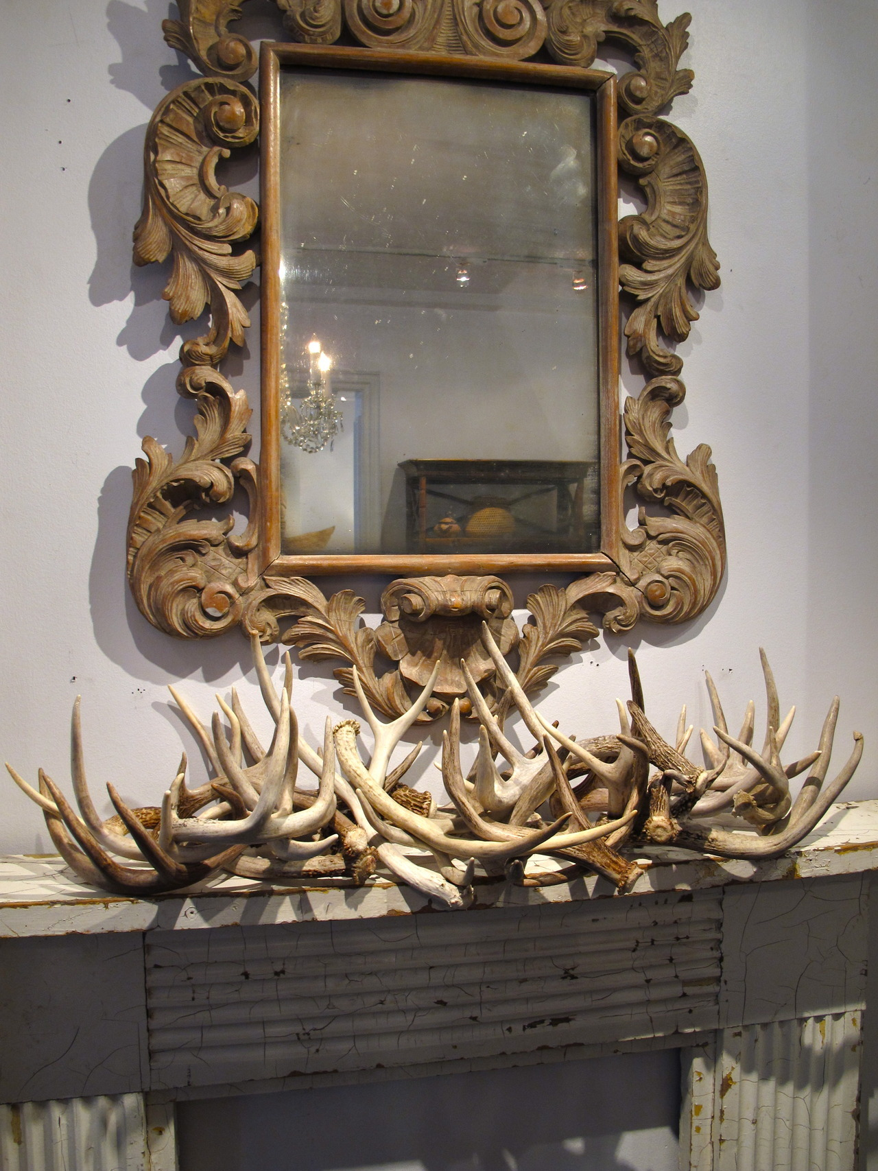 Rustic Mantel and Lux Carved Antique Mirror