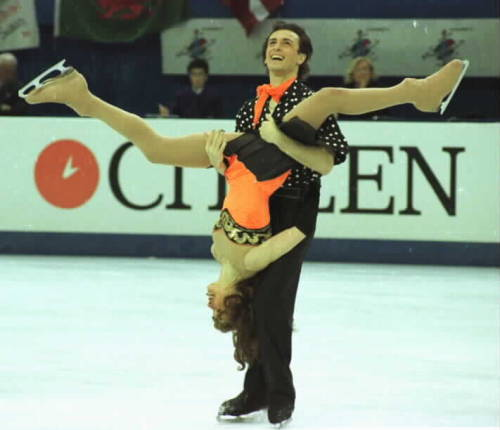 Oh ice dance, never change. Irina Lobacheva and Ilia Averbukh skating to The Mask soundtrack for their free dance at the 1997 World Championships. Photo by Barry Mittan.