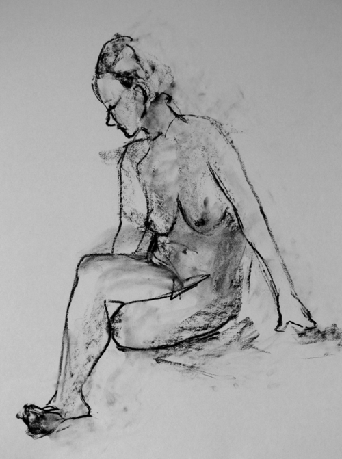 Recent life drawing, A2, charcoal, quick pose (about 2 and half minutes) Back to life drawing again! Please check out my main art blog for more!