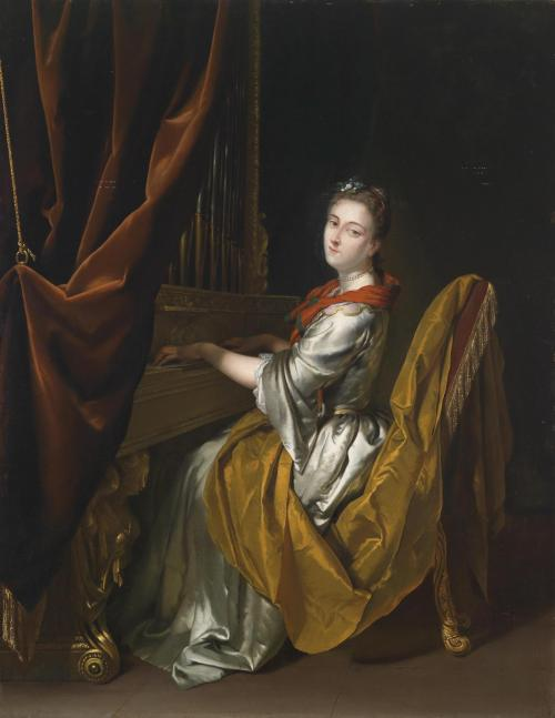 andreasp-rv:  Portrait of Barbara Janssens playing the organ, 1726, by Herman van der Mijn