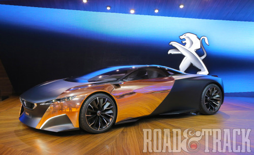 What make the Peugeot Onyx Concept stand out from its supercar coteria is its trim materials that you might find at a favorite pub. (Source: Road & Track)