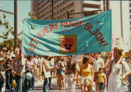 """Let Every Pansy Bloom"" banner at the San Francisco Gay Freedom Day pride parade, 1978."