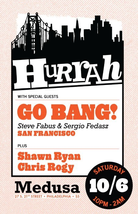djshawnryan:  This Saturday at Hurrah, I'm super stoked to bring Go Bang! to Philadelphia for the first time! I played their party in San Francisco in March & it was one of the highlights of my year! The music was total disco fire & the crowd danced nonstop!!! Steve's been DJing in SF & NYC since 1977 and Sergio's been DJing on Berkeley radio since 1997! Plus Sergio is half of The SyntheTigers, who regularly release killer edits & just dropped their first EP! And this Saturday, they're finally making their Philadelphia premier!!! Let's make it a night to remember & go 2am strong and beyond! Check out Go Bang!'s Soundcloud for a ton of mixes from their party! And check out The SyntheTigers' Soundcloud for a bunch of club ready disco edits & a taste of their new EP!