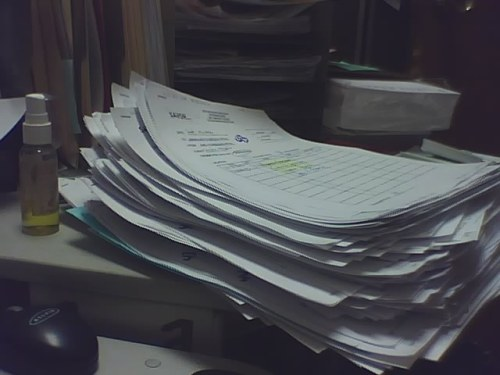 Stack of paper.  Life of an office worker.
