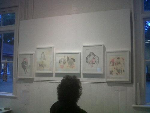 It was the private view of the cutting edge exhibition tonight and here are my pieces (excuse the big hair) My work was with alot of RCA graduates and it was weird, cause my mum overhead people saying 'I wish there was more illustration here' and 'This wolf drawing reminds me of your sister, this wolf is brutal'