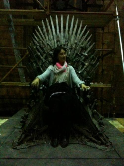 wicnet:  Queen Shae? Sibel Kekilli tries out the Iron Throne. From her facebook fan page.