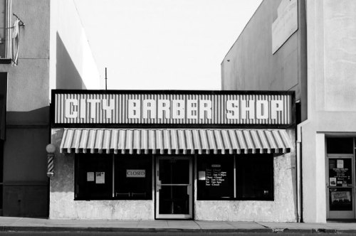 theoccasionaloddcrop:  City Barber Shop Ramona, California; September 2012 Finally took the time to drive out to Ramona, a small town in rural San Diego County. I'm moving to Los Angeles (well, Pasadena) next week, so it's a good thing I went when I did.