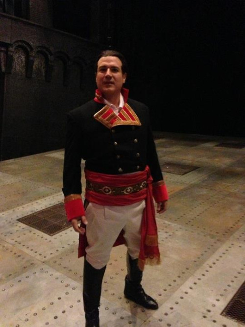 Chioldi, in costume, on the set of Utah Opera's Il Trovatore