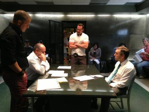 """Rehearsing third scene of the day. This crew is kicking ass for me. #CSIep8"" @Huntvision"
