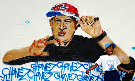 MC CHAVEZ - graffiti in Caracas, via the @guardian  Hugo Chávez: a strongman's last stand