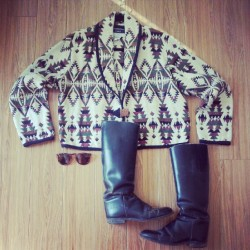Shop The Look: Aztec Jacket $65, Tortoise Wire Frames $28, Distressed Riding Boot $90. All in store now! #thesaltwatergypsy #saltwatergypsy #aztec #jacket #boots #wireframes #sunnies #fashion #vintage #shop (Taken with Instagram at www.saltwatergypsy.etsy.com)