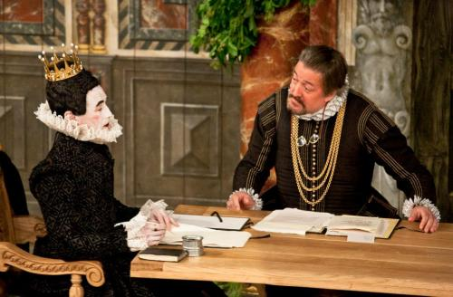 Mark Rylance (Olivia) and Stephen Fry (Malvolio) in Twelfth Night, dir. Tim Carroll at Shakespeare's Globe, London 2012 (photo by Simon Annand)For the rain it raineth every day  I have spent more time at the Globe theatre watching plays (and later volunteering and freelancing) than is reasonable. I first visited the theatre in 1996, and saw the opening production of Henry V the following year. On that fateful August day, Mark Rylance walked on stage, recited the play's opening lines (O for a muse of fire that would ascend the brightest heaven of invention), and kicked open a door somewhere inside me I didn't even know existed. That open door led me to some strange countries, not unlike Illyria - an oxymoronic land of merriment and Puritanical condemnation, of mistaken identities and willful pretence, of cruel jokes and harmless witty foolery. A place where people fall desperately in love at first sight, or long for lovers they cannot have. I watched theatre nearly seven days a week, for years. I moved to England, went to drama school, directed plays. I worked and lived in and for the theatre. Then something broke. I became frustrated with career options that offered hard labour but little reward. I turned bitter, critical and exhausted; there was no more joy in it for me. I remember reading a line in a Lorca play that hit me right on the head: you have to destroy the theatre or live in the theatre! It's not fair to boo from backstage! I don't how I ended up there, but there I was: booing from backstage. So I opted out, cut theatre out of my life. I went to the cinema. After a while I fell in love again - this time with an equally thrilling, rich and challenging art, but one that is at the same time safer, more distant: nobody looks back at you, nobody can touch you from a silver screen. Last night I went to see Twelfth Night at the Globe. It's a production I have seen many times before, because it was originally performed by the Globe company at Middle Temple Hall in February 2002 on the 400th anniversary of the play, and later transferred to the Globe for the summer season that year. Mark Rylance reprised his hilarious, intense Olivia; Paul Chahidi was again a perfectly savvy Maria, and Liam Brennan a muscular yet refined Orsino. New cast member Stephen Fry (!) played Malvolio – the most sympathetic and believable Malvolio I've ever seen, a joy to behold. Johnny Flynn and Sam Barnett were (impressively similar-looking) Viola and Sebastian: both eloquent, sensitive, courageous survivors. And my favourite actor from the original cast, Peter Hamilton Dyer, returned as Feste (make no mistake: Feste is the core of the play; with his tenor voice and sharp sense of humour PHD was born to play this part). This new cast is extremely well-balanced, and all parts are fully characterised through costume and smart, inventive performative touches that feel really grounded in the world of the play. The minimal but effective direction allows each cast member to play his part to the full, using the beautiful setting of the Globe-turned-Elizabethan-mansion, as well as the very lively audience, as a perfect foil for jokes and confessions, really drawing on the energy of the live, open air experience so essential to the magic that the Globe can create. Globe productions can incorporate so many external agents into their ebb and flow - weather, accidents, audience response - and the best Globe shows are organic, sensory events. In Shakespeare's times people spoke of 'hearing' a play rather than 'seeing' it, and while great attention was paid to visual comedy (for example in the scene where a confused Orsino realises he feels attracted to Cesario/Viola and, transported by the music, nearly kisses him - observed by a watchful Feste), this show is primarily an extraordinary aural experience. The combination of the text being spoken so clearly and accurately that every word makes sense, and an inspired use of music to accompany so many scenes (and pre-show, interval, final jig and curtain call), creates a world of sounds and sighs – breath made song for the purpose of laughter, lament, and nourishment alike (If music be the food of love, play on is, after all, the opening line of the play). It is a production full of fun and joy – the physical joy of beautifully ornate language being articulated for the pleasure of our own ears and hearts, of gorgeous garments that swish and flutter as characters move (Orsino does wear changeable taffeta!), of bodily enjoyment in dance, love, drink and food – the purest joys there are. It may not be the darkest, most sophisticated interpretation of the play, but for me it was simply the definitive production my favourite Shakespeare comedy. I can't remember where I read something that Mark Rylance said about Olivia being like a country that's moving from winter to spring thanks to the experience of love. Last night under a pouring, cold autumn rain, something inside me thawed. Like the last piece of wood on the fire after a long, merry evening drawing to its melancholy end, it warmed me up and reminded me why I loved the theatre. And why you can't forget your first love, no matter how much it hurt, no matter how far away from it you travel.